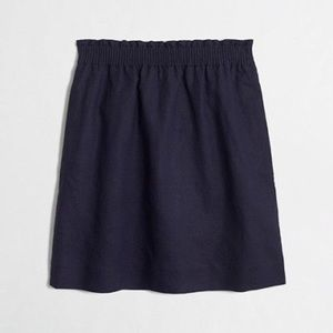 Jcrew mini sidewalk skirt pockets navy blue linen
